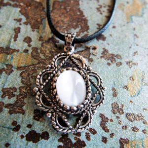 Pendant Gothic Sterling Silver 925 Gemstone Necklace White Fildisi Handmade Vintage Antique Filigree Dark