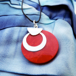 Pendant Red Coral Gemstone Silver Necklace Handmade Sterling 925 Good Fortune Luck
