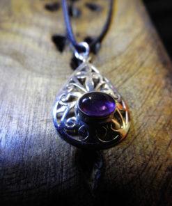 Pendant Silver Amethyst Gemstone Handmade Gothic Vintage Antique Style Filigree Dark