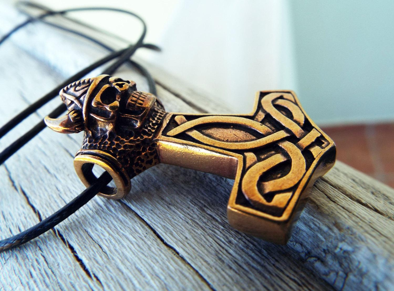 Copper Thor S Hammer Skull Pendant