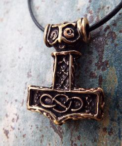 Pendant Thor's Hammer Celtic Bronze Symbol Knot Magic Handmade Jewelry Necklace