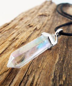 Pendulum Clear Quartz Pendant Silver Handmade Gemstone Necklace Stone Gothic Magic Dark Wicca Jewelry