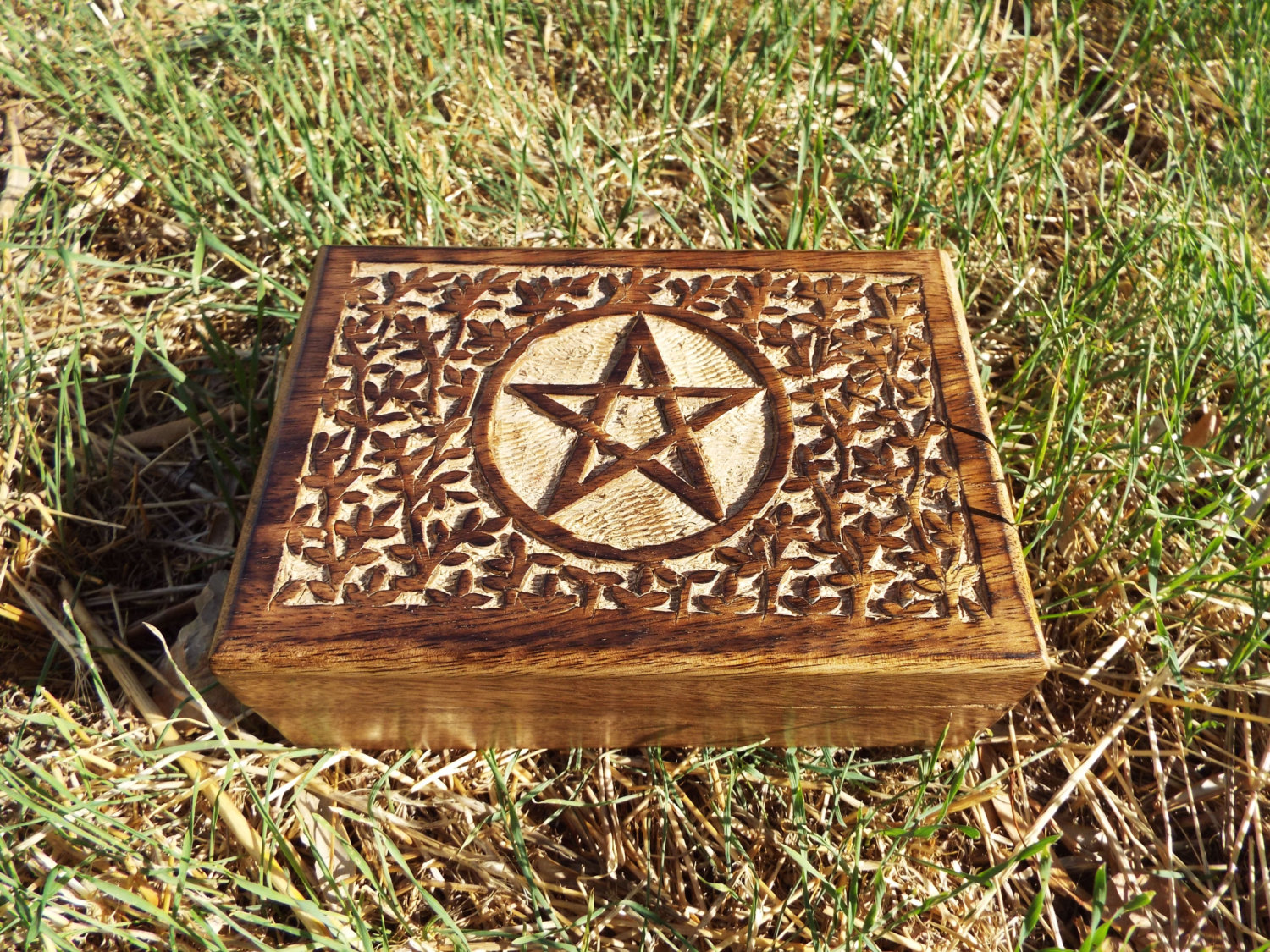 Mango Tree Wooden Handcrafted Box with Built Goldtone Compass