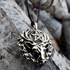 Pentagram Deer Pendant Hart of the Wildwood Symbol Handmade Necklace Gothic Dark Animal Symbol Wiccan Magic Star Bronze Jewelry