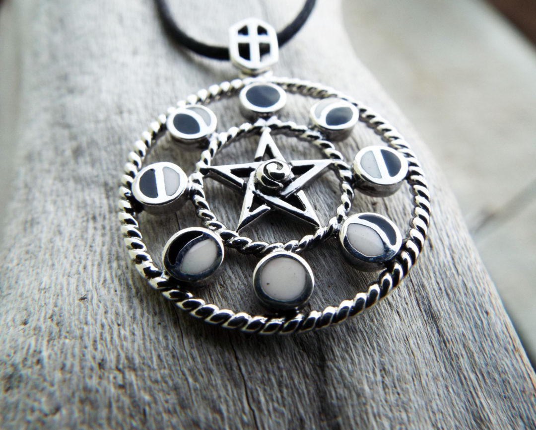 Pentagram Pendant Silver Moon Handmade Necklace Star Witch Wicca Moon Phases Protection Celtic Sterling 925 Gothic Dark Jewelry Symbol