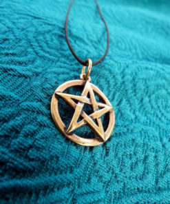 Pentagram Star Wicca Pendant Pagan Magic Witch Handmade Necklace Gothic Dark Wiccan Bronze Jewelry