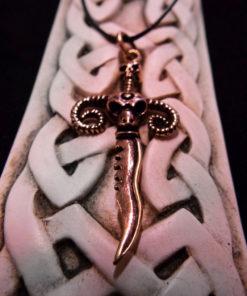 Ram Sword Pendant Skull Bronze Handmade Necklace Dark Gothic Devil Demon Power Aries Jewelry