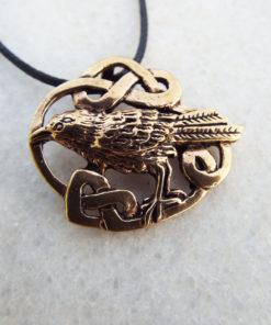 Raven Crow Bird Pendant Handmade Celtic Necklace Gothic Edgar Allan Poe Symbol Animal Bronze Jewelry