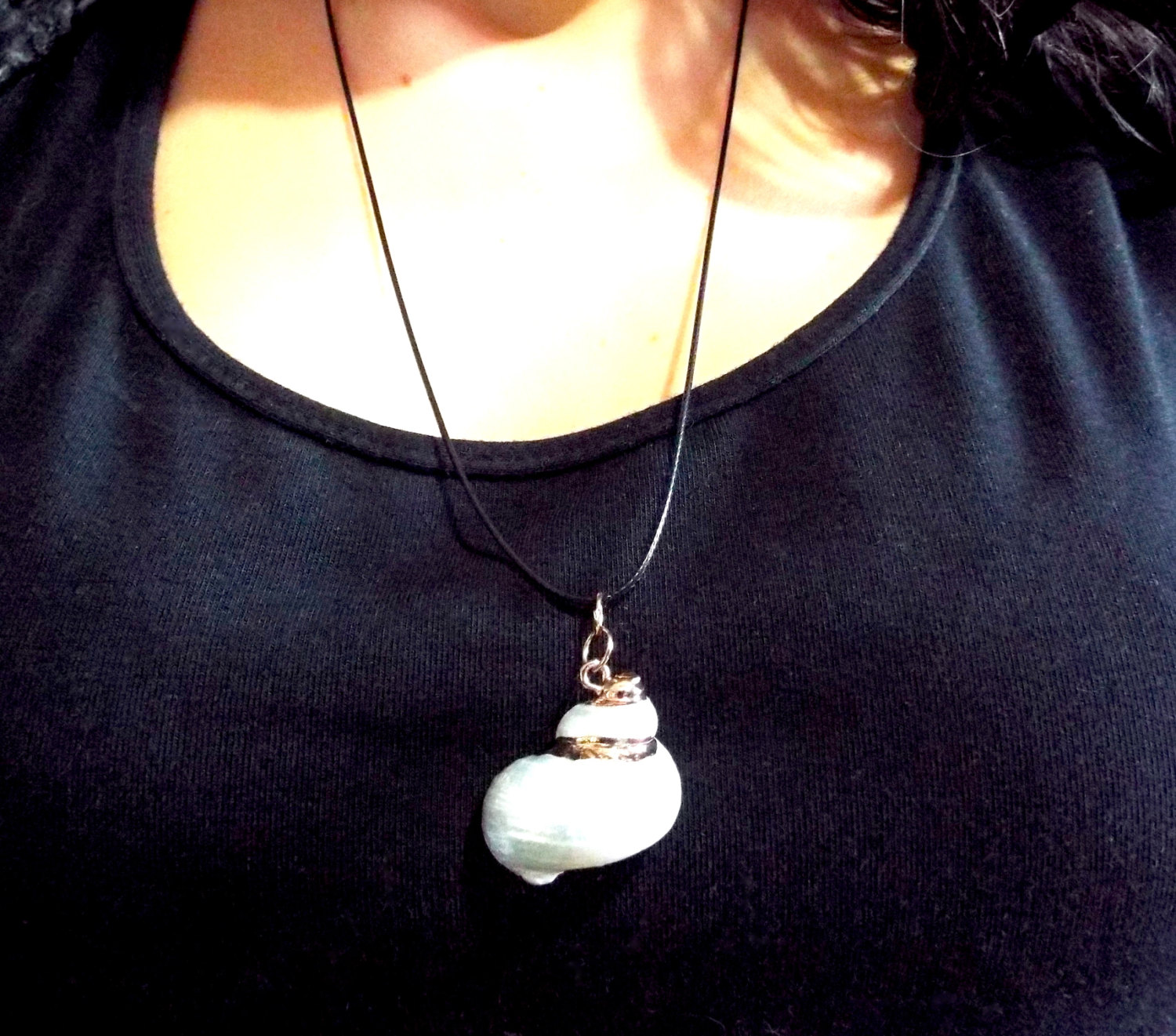 Real Spiral Shell Pendant Handmade Necklace Seashell Jewelry Beach Ocean Eco Friendly 2
