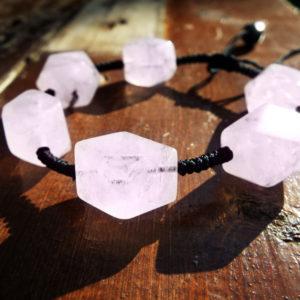Rose Quartz Bracelet Gemstone Handmade Stone Cuff Jewelry Bohemian Spiritual Protection Valentine