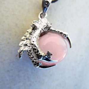 Rose Quartz Dragon Pendant Necklace Silver Gemstone Claw Gothic Magic Protection Wicca Jewelry