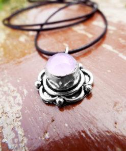 Rose Quartz Pendant Silver Handmade Flower Floral Necklace Antique Vintage Jewelry