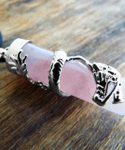 Rose Quartz Pendulum Dragon Pendant Gemstone Silver Necklace Cylinder Handmade Gothic Magic Dark Wicca Jewelry