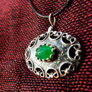 Silver Pendant Jade Gemstone Sterling 925 Handmade Antique Vintage Gothic Necklace Jewelry