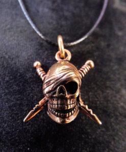 Skull Pendant Bronze Pirate Gothic Dark Necklace Jewelry Death Dagger Sword Corpse