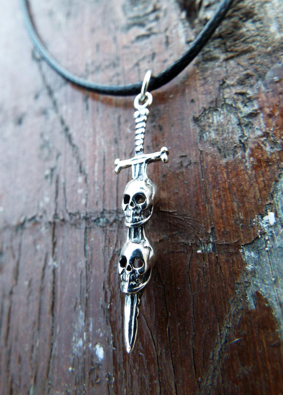 Vintage Sterling Silver Skull Sword Pendant Necklace