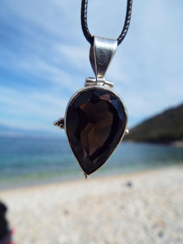 Smokey Quartz Pendant Gemstone Silver Necklace Handmade Sterling 925 Protection Gothic Dark Vintage Antique Jewelry