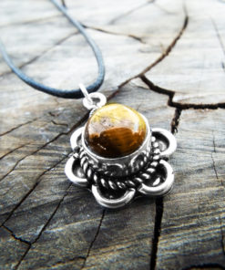 Tiger's Eye Pendant Flower Gemstone Silver Necklace Handmade Vintage Antique Stone Gothic Jewelry