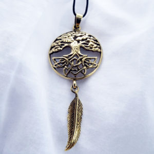 Tree of Life Dreamcatcher Feather Indian Protection Celtic Pendant Symbol Handmade Necklace Gothic Dark Bronze Jewelry