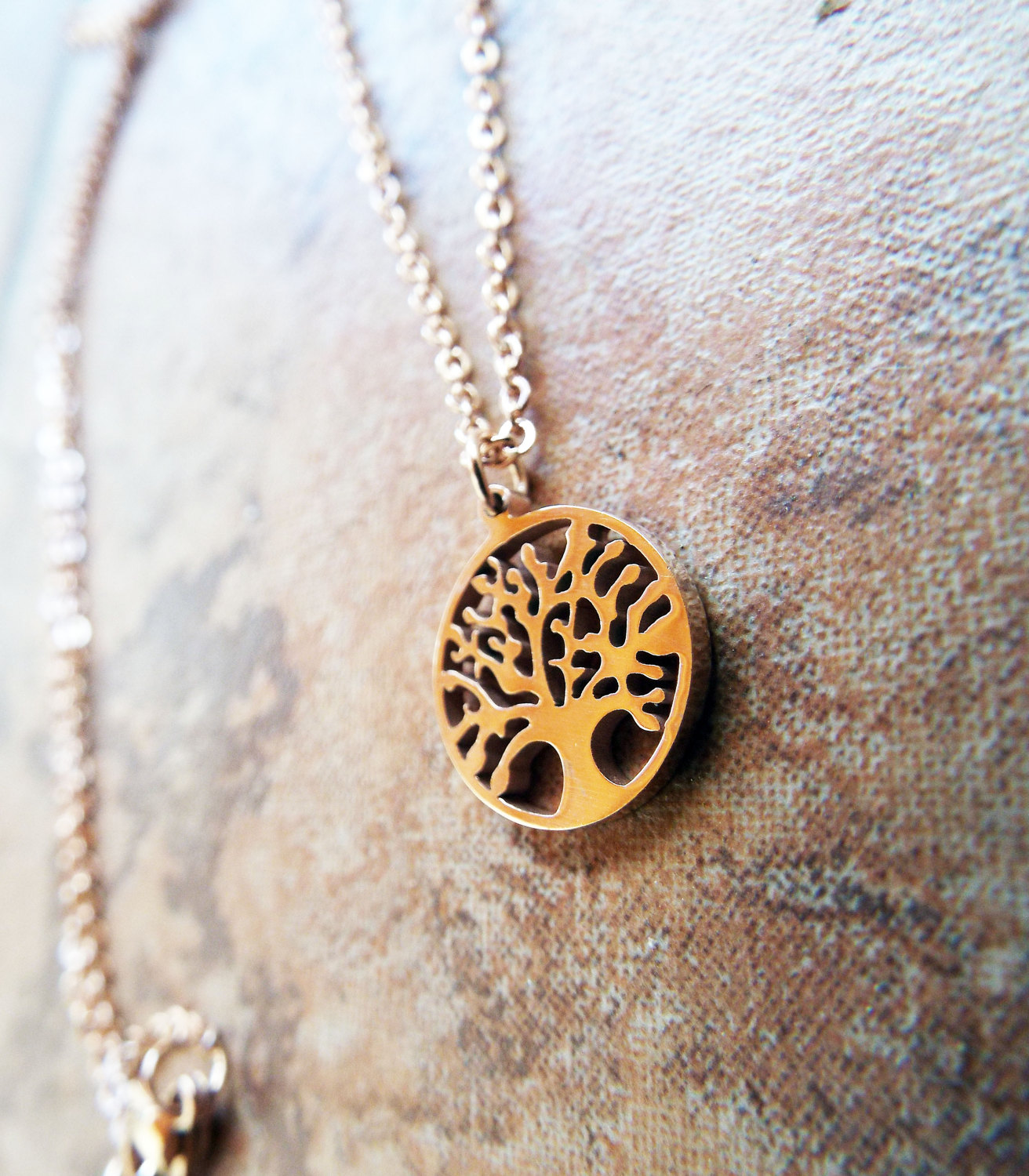 Tree of Life Pendant Rose Gold Protection Tree Handmade Necklace Gothic Dark Jewelry Symbol Stainless Steel