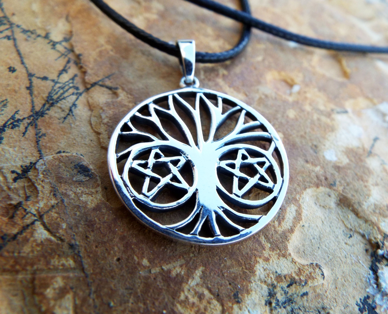 Tree Of Life Pendant Silver Handmade Necklace Pentagram Star Witch