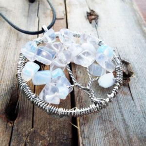 Tree Pendant Tree of Life Opalite Opal Silver Symbol Gemstone Handmade Necklace Jewelry