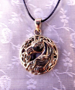 Unicorn Pendant Bronze Horse Handmade Necklace Jewelry Fairytale Magic Spell Wish