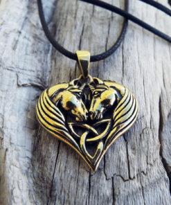 Unicorn Pendant Bronze Horse Triquetra Handmade Necklace Jewelry Fairytale Magic Spell Wish