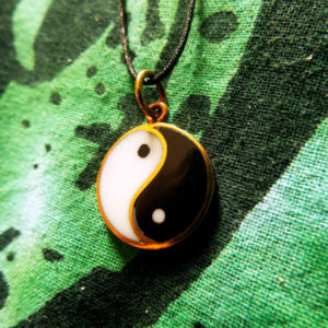Yin Yang Chinese Symbol Pendant Protection Necklace Handmade Jewelry Bronze