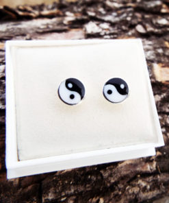 Yin Yang Earrings Studs Silver Handmade Sterling 925 Chinese Asian Symbol Zen Boho Jewelry