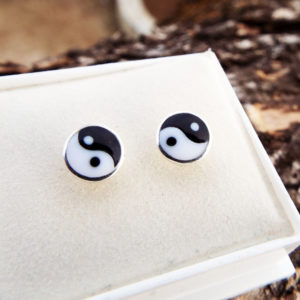Yin Yang Earrings Studs Silver Handmade Sterling 925 Chinese Asian Symbol Zen Boho Jewelry