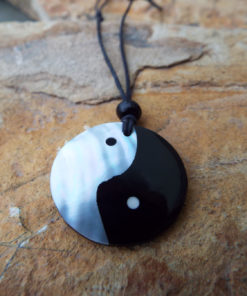 Yin Yang Pendant Abalone Necklace Symbol Jewelry Good and Evil
