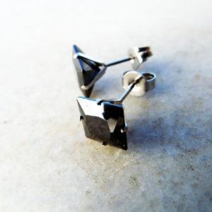 Zircon Earrings Studs Gemstone Stone Diamond Handmade Silver Stainless Steel Jewelry