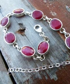 Ruby Bracelet Silver Cuff Dangle Chain Sterling 925 Handmade Red Gemstone Gothic Dark Antique Vintage Jewelry