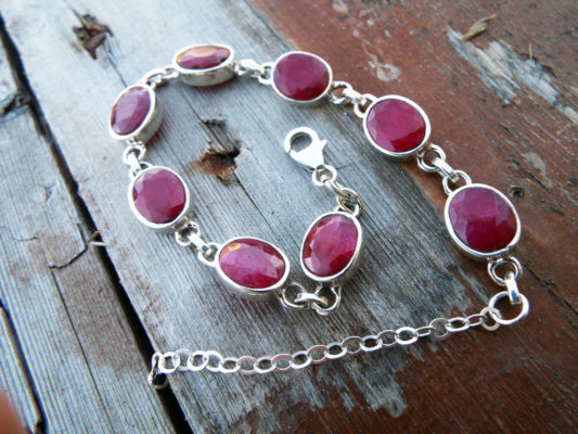 Ruby Bracelet Silver Cuff Dangle Chain Sterling 925 Handmade Red Gemstone Gothic Dark Antique Vintage Jewelry