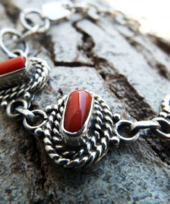 Coral Bracelet Handmade Silver Cuff Gemstone Red Sterling 925 Ocean Sea Summer Beach Good Fortune Luck Jewelry