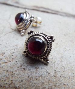 Earrings Garnet Studs Red Gemstone Silver Handmade Sterling 925 Gothic Dark Vintage Antique Jewelry