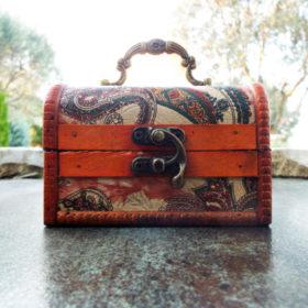 Box Vintage Floral Flower Handmade Wooden Genuine Leather Treasure Chest Jewelry Paisley Trinket Antique Vintage Gothic