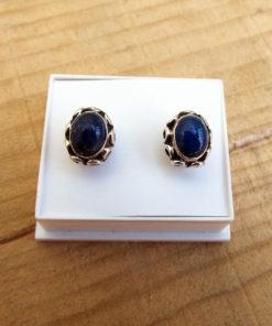 Lapis Lazuli Earrings Studs Gemstone Silver Handmade Stone Sterling 925 Gothic Dark Antique Vintage Bohemian Jewelry