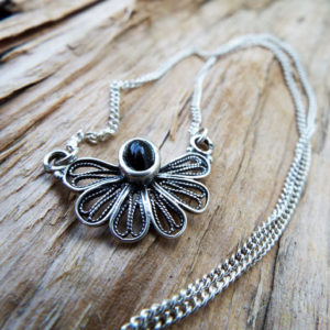 Onyx Pendant Silver Flower Handmade Necklace Sterling 925 Gemstone Black Gothic Dark Antique Vintage Jewelry