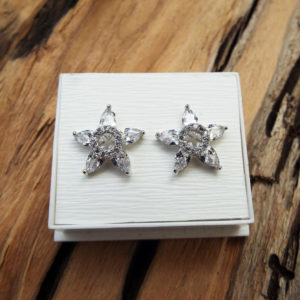 Earrings Flower Studs Silver Handmade Star Sterling 925 Floral Zircon Spring Vintage Antique Jewelry