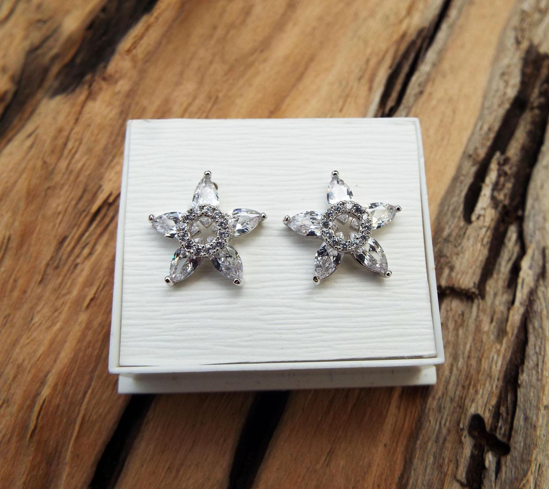 Earrings Flower Studs Silver Handmade Star Sterling 925 Floral Zircon Spring Vintage Antique Jewelry