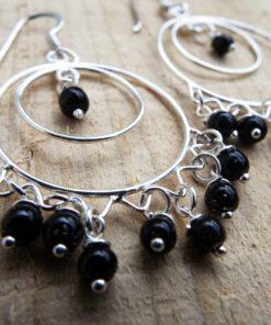 Onyx Earrings Silver Drop Dangle Gemstone Black Sterling 925 Handmade Jewelry Gothic Dark Antique Vintage