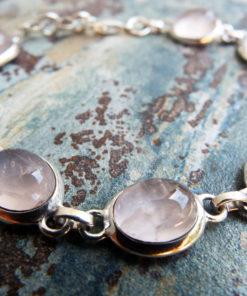 Rose Quartz Bracelet Silver Cuff Dangle Chain Sterling 925 Handmade Gemstone Gothic Dark Antique Vintage Jewelry