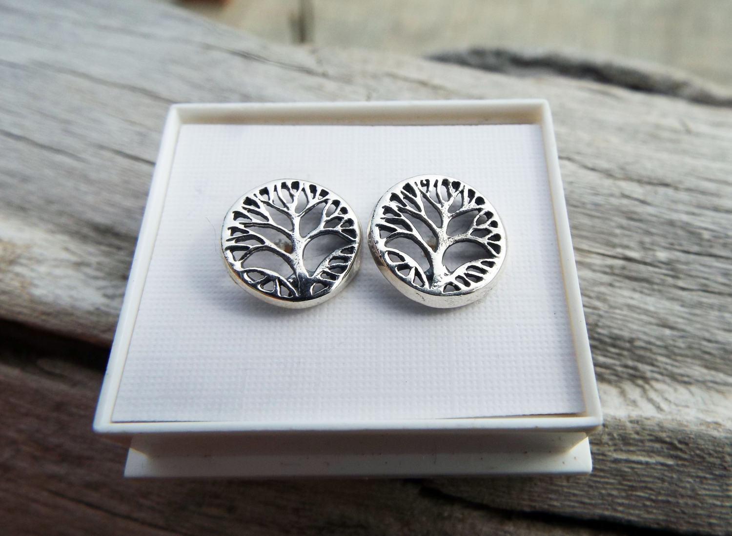 Tree of Life Earrings Studs Silver Celtic Tree Symbol Sterling 925 Handmade Jewelry Nature