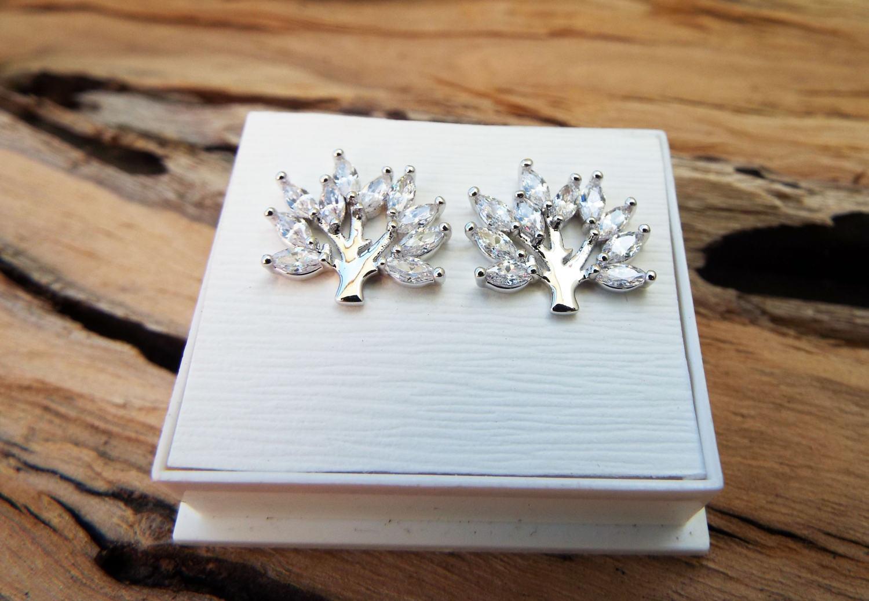 Tree of Life Earrings Studs Silver Celtic Tree Symbol Sterling 925 Zircon Handmade Jewelry Nature