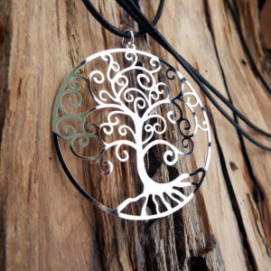 Tree of Life Pendant Silver Necklace Handmade Gustav Klimt Stainless Steel Tree Gothic Dark Jewelry Symbol