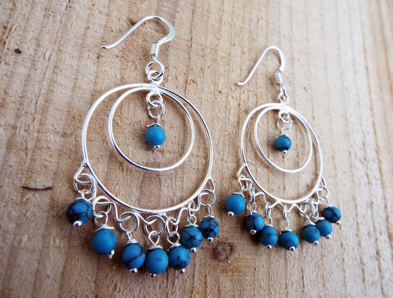 Turquoise Earrings Drop Dangle Blue Gemstone Silver Protection Handmade Sterling 925 Jewelry Boho