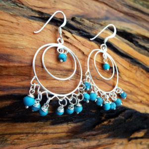 Turquoise Earrings Drop Dangle Blue Gemstone Silver Protection Handmade Sterling 925 Jewelry Boho
