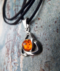Amber Pendant Triquetra Silver Handmade Necklace Sterling 925 Symbol Jewelry